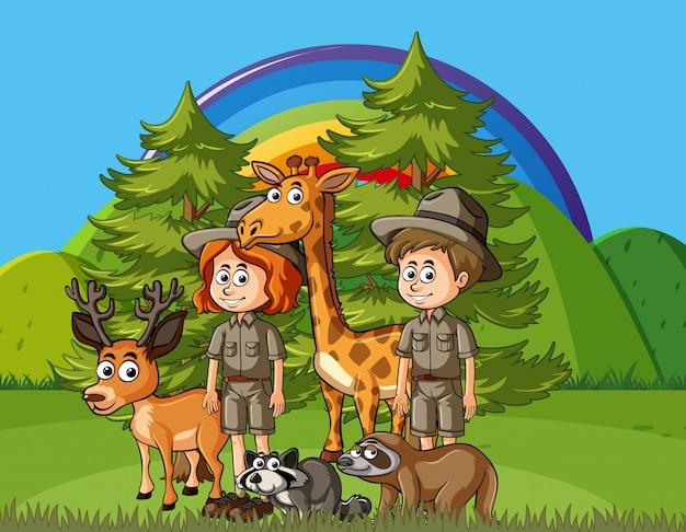 Cena com guardas florestais e animais selvagens