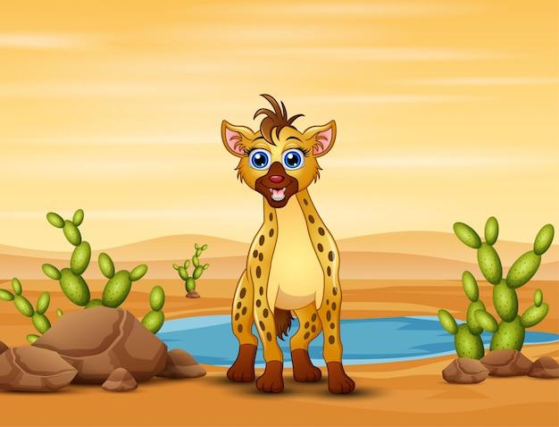 Cena com hiena no campo do deserto
