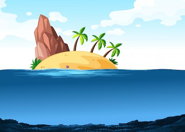Cena, com, ilha, ligado, a, oceânicos