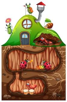 Cena com insetos no buraco subterrâneo