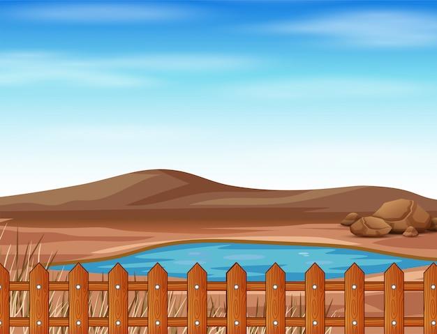 Cena com lagoa e ilustração de terra seca