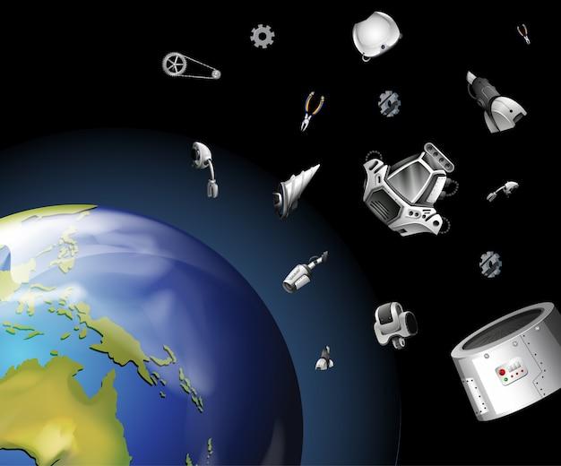 Cena com lixo espacial no espaço