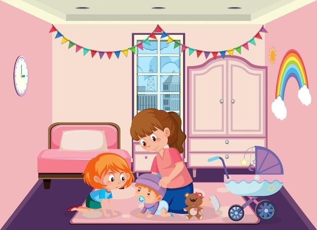 Cena com mãe e filhos no quarto rosa