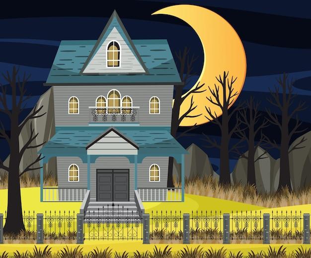 Cena com mansão de halloween assombrada