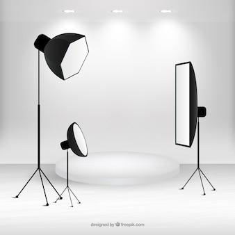 Cena com material de estúdio fotográfico