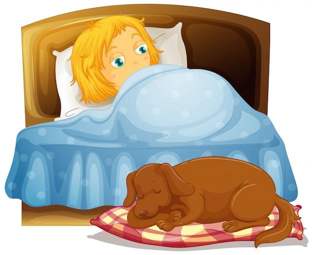 Cena com menina dormindo na cama com cachorro de estimação