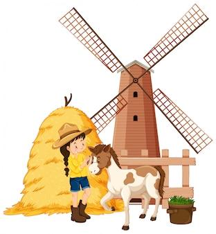 Cena com menina e cavalo na fazenda