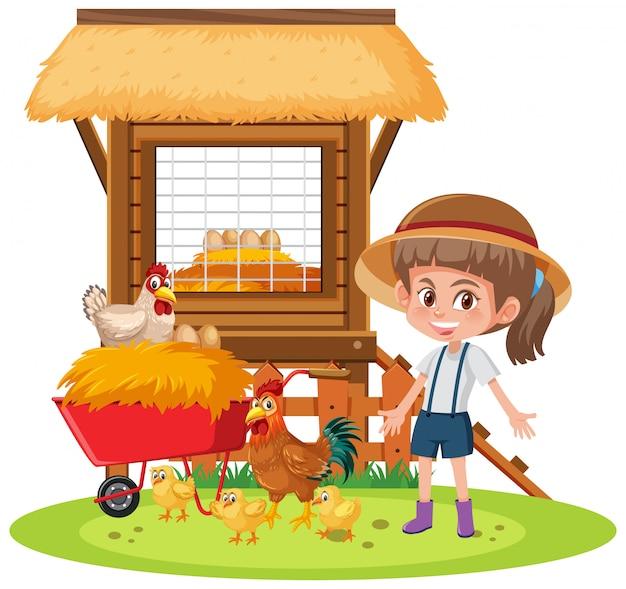 Cena com menina e galinhas no fundo branco