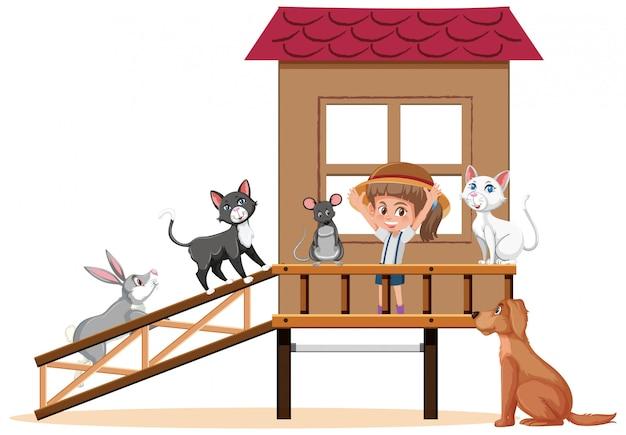 Cena com menina e muitos animais de estimação em casa