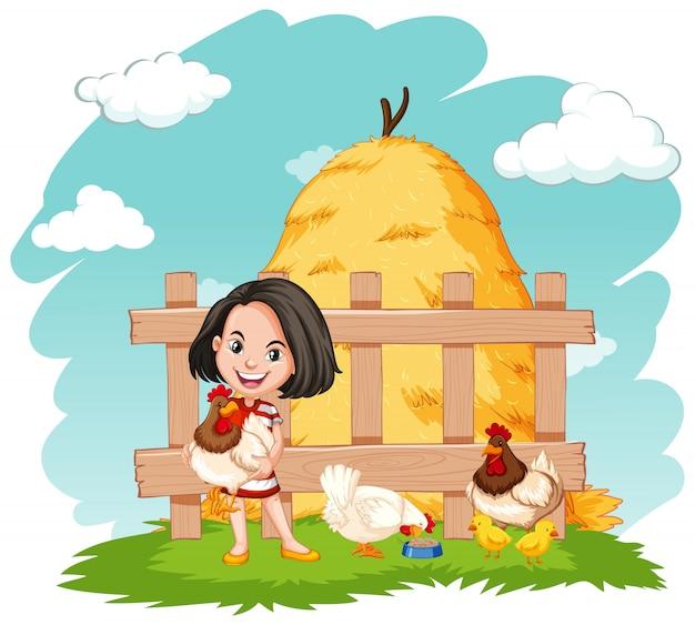 Cena com menina feliz e galinhas na fazenda