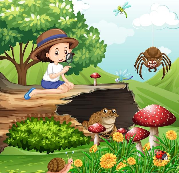 Cena com menina olhando para insetos no jardim
