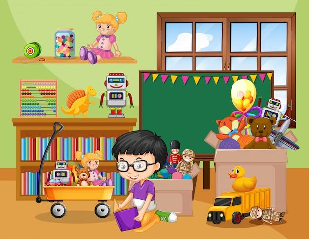 Cena com menino brincando com muitos brinquedos no quarto