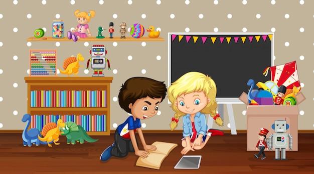 Cena com menino e menina brincando no quarto