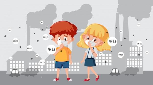 Cena com menino e menina usando máscara na cidade