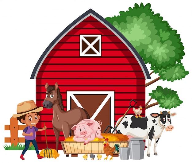 Cena com menino e muitos animais de fazenda na fazenda