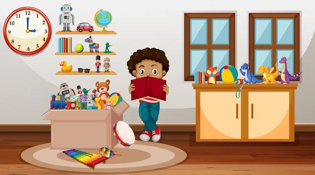 Cena com menino lendo livro no quarto