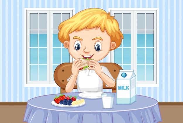 Cena com menino tomando café da manhã saudável em casa