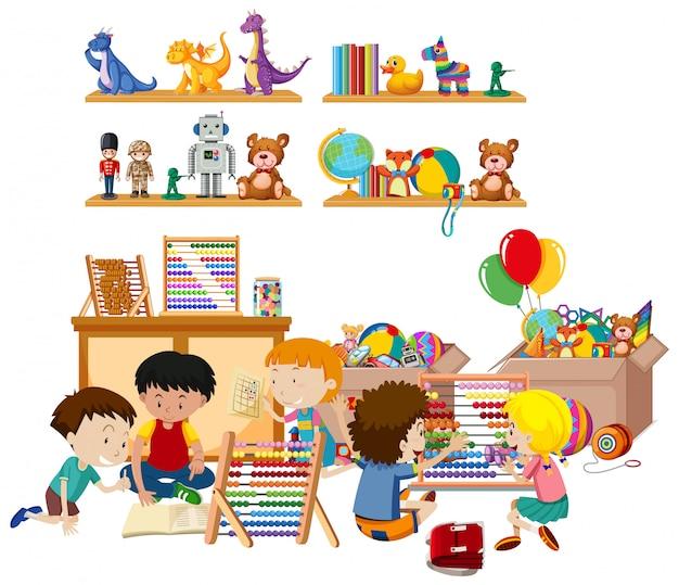 Cena com muitas crianças brincando brinquedos no quarto