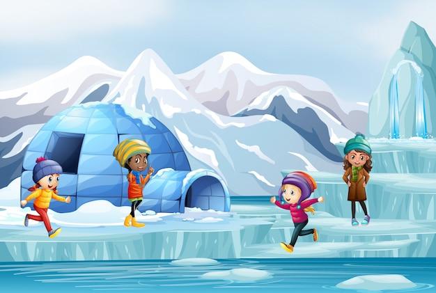 Cena com muitas crianças brincando no gelo