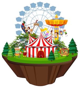 Cena com muitas crianças brincando nos passeios de circo