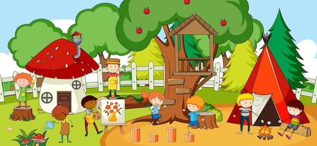 Cena com muitas crianças doodle personagem de desenho animado no parque