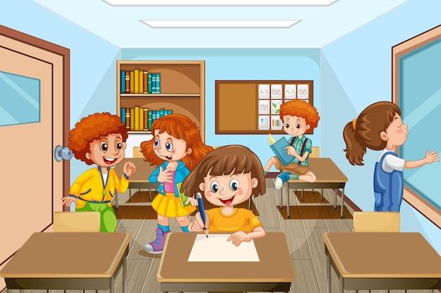 Cena com muitas crianças estudando na sala de aula