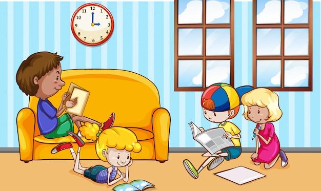 Cena com muitas crianças lendo livros em casa