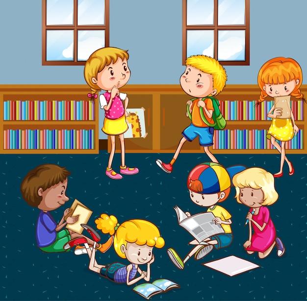 Cena com muitas crianças lendo livros na biblioteca
