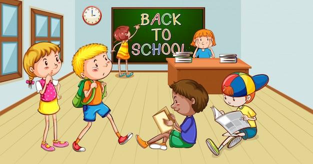 Cena com muitas crianças lendo livros na sala de aula