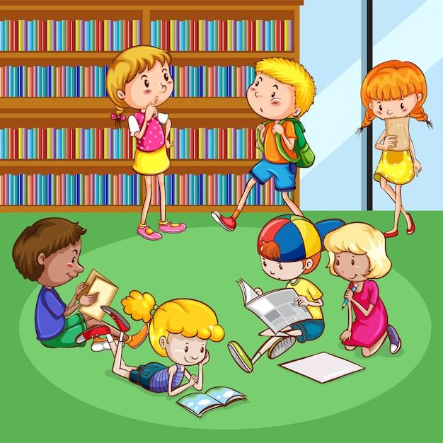 Cena com muitas crianças lendo livros no quarto