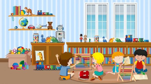 Cena com muitas crianças na sala de aula