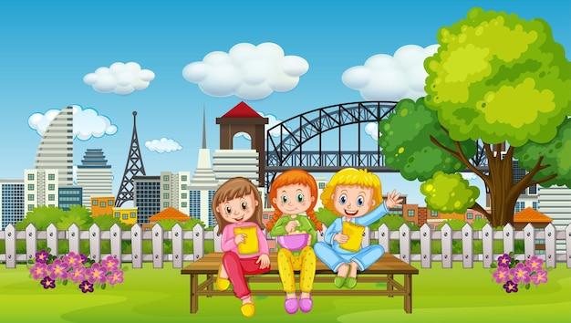 Cena com muitas crianças no parque