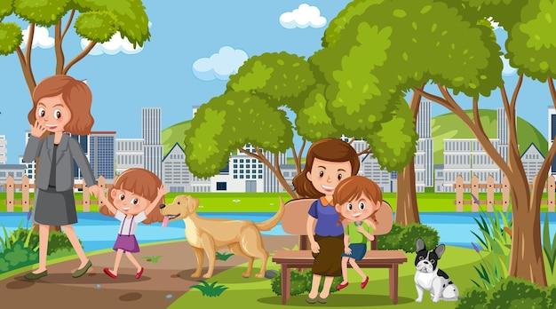 Cena com muitas pessoas no parque durante o dia
