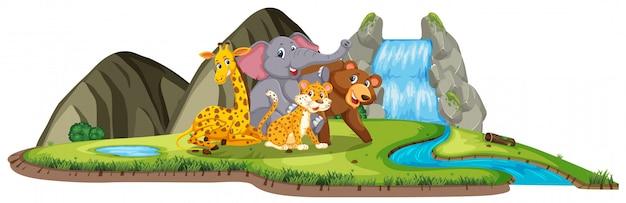 Cena com muitos animais selvagens na cachoeira