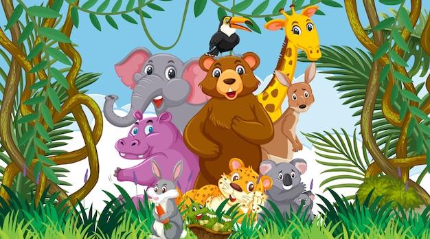Cena com muitos animais selvagens na floresta