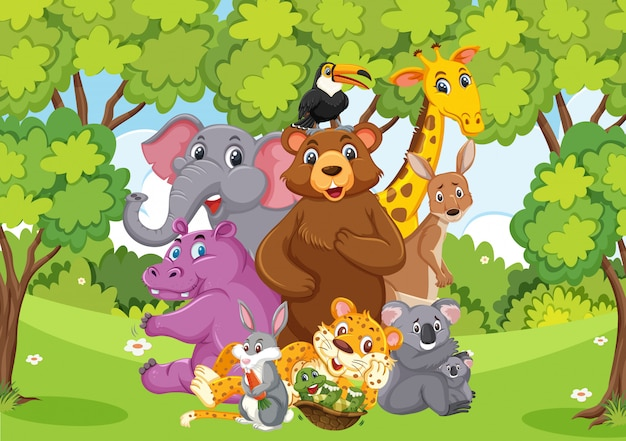 Cena com muitos animais selvagens no parque