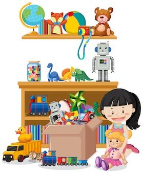Cena com muitos brinquedos na prateleira e menina brincando de boneca