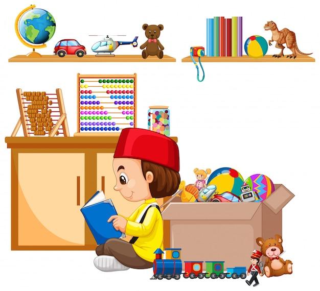 Cena com muitos brinquedos na prateleira e menino muçulmano lendo livro