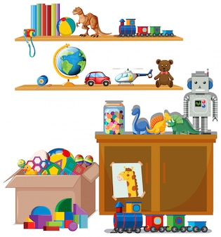 Cena com muitos brinquedos nas prateleiras