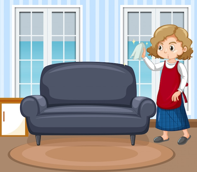Cena com mulher limpando janelas em casa