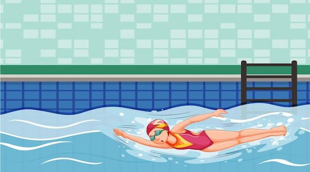 Cena com nadador nadando na piscina