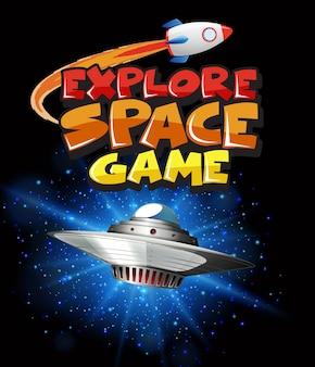 Cena com nave espacial voando na galáxia escura