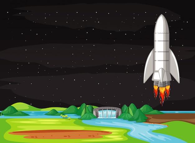 Cena com nave espacial voando no céu
