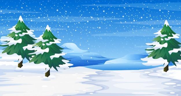 Cena com neve no chão e ilustração de árvores
