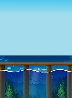 Cena com o oceano e debaixo d'água