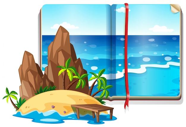 Cena com oceano e ilha