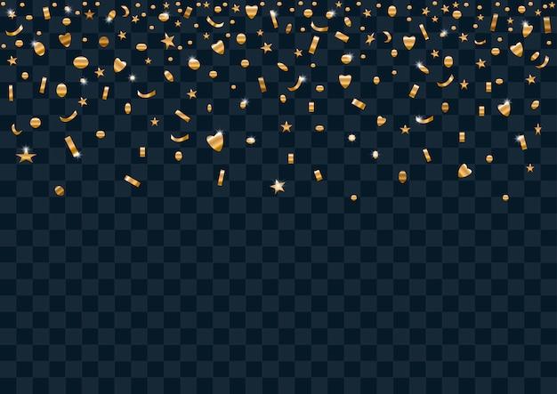 Cena, com, ouro, confetti