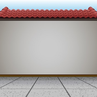 Cena com parede e telhado vermelho