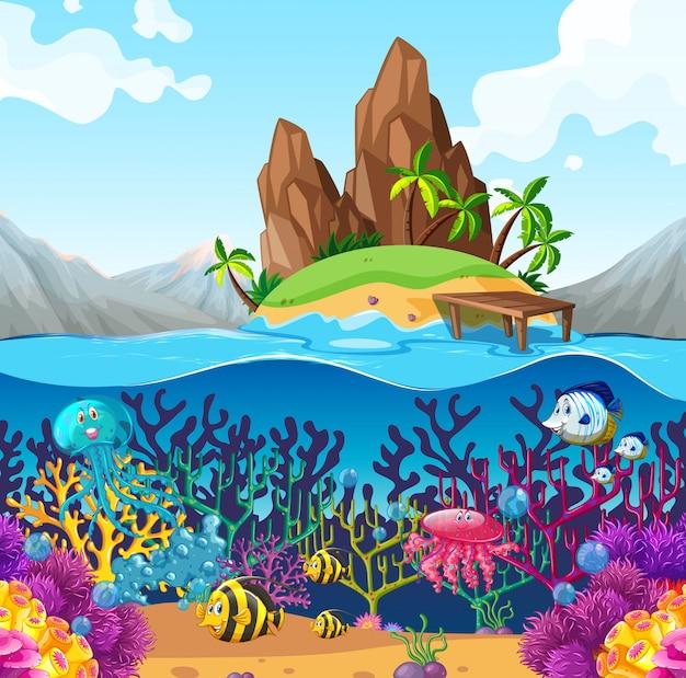 Cena, com, peixe, sob, a, oceânicos