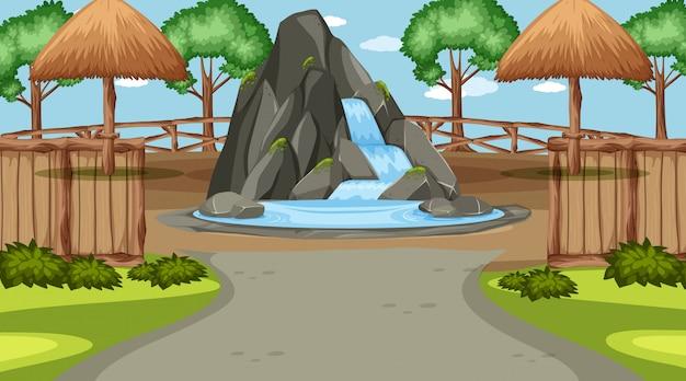 Cena com pequena cachoeira no parque